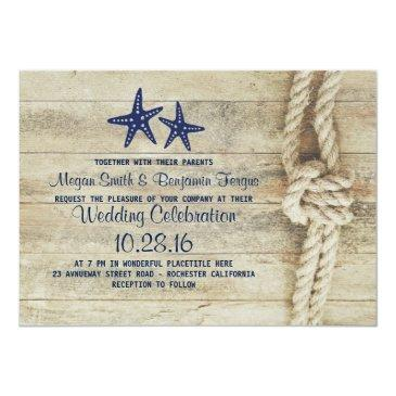 rustic beach driftwood nautical rope navy wedding invitations