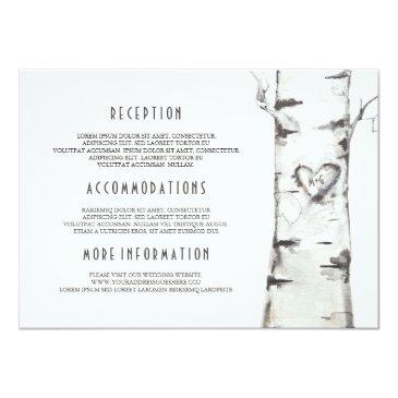 rustic birch tree watercolor wedding information