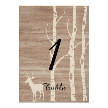 rustic birch trees and deer wedding table number