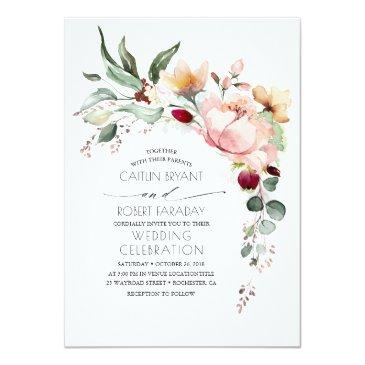 rustic bloom and faux rose gold foil wedding invitation