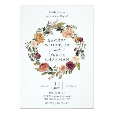 Small Rustic Bloom | Floral Wreath Wedding Invitation Front View