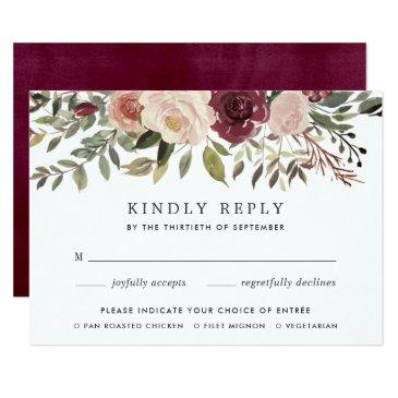 rustic bloom rsvp  with meal choice