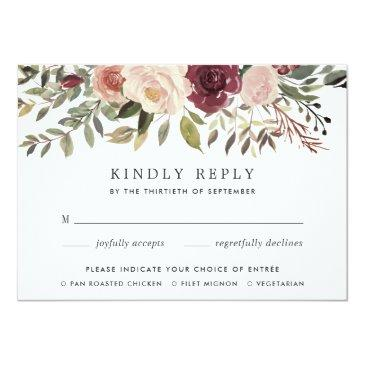 Small Rustic Bloom Rsvp  With Meal Choice Front View