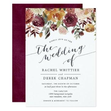 rustic bloom watercolor floral wedding invitations