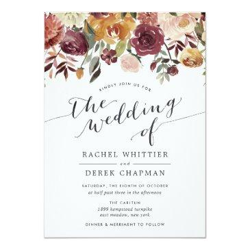 Small Rustic Bloom Watercolor Floral Wedding Invitations Front View