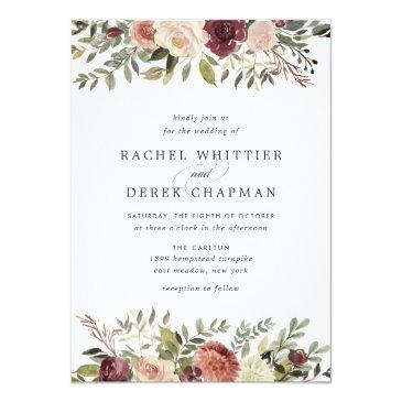 Small Rustic Bloom Wedding Invitations Front View