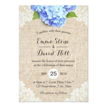 Small Rustic Blue Hydrangea Floral Lace & Burlap Wedding Invitationss Front View