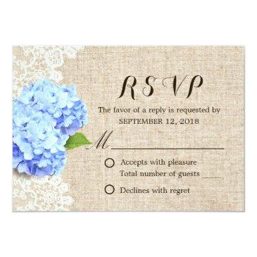Small Rustic Blue Hydrangea Lace & Burlap Wedding Rsvp Front View