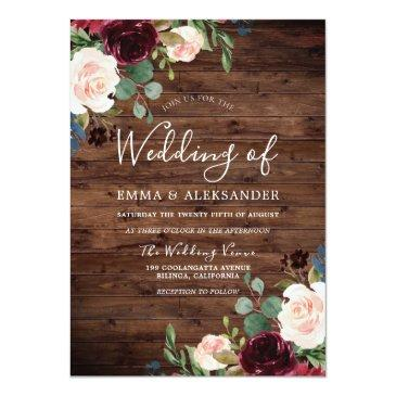 Small Rustic Blush & Burgundy Red Wine Flowers Wedding Invitation Front View