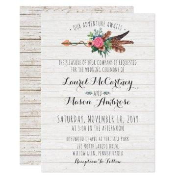rustic bohemian feathers arrow wedding