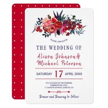 rustic bohemian red navy floral wedding invite