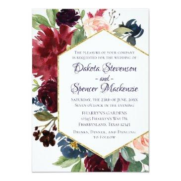 Small Rustic Boho Floral | Moody Navy Blue Chic Modern Invitation Front View
