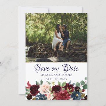 rustic boho floral | moody navy burgundy modern save the date