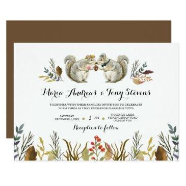rustic boho forest squirrels watercolor wedding