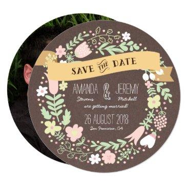 rustic boho pastel flower photo save the date