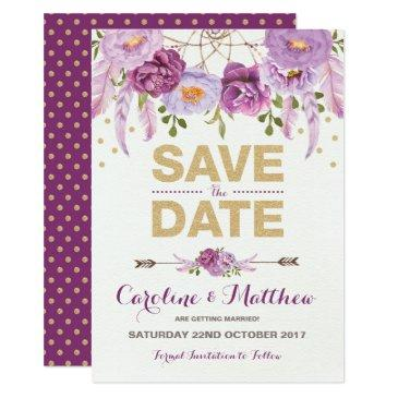 rustic boho purple gold floral save the date