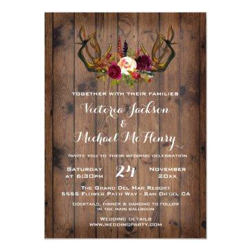 Small Rustic Boho Wedding  With Deer Antlers Front View