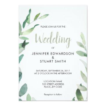 rustic botanical watercolor olive branch wedding