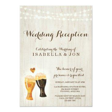 rustic brewery wedding reception only invitations
