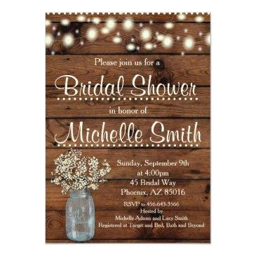 rustic bridal shower invitations, mason jar, floral invitations