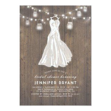 Small Rustic Bridal Shower | Wedding Gown And Mason Jars Invitationss Front View