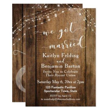 rustic brown wood & lights we got married event invitations