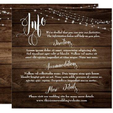 rustic brown wood w/ lights, wedding info script