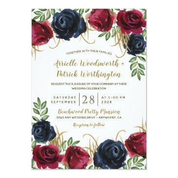 Small Rustic Burgundy And Navy Blue Wedding Front View