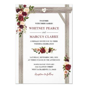 rustic burgundy blush floral boho wedding arch invitation