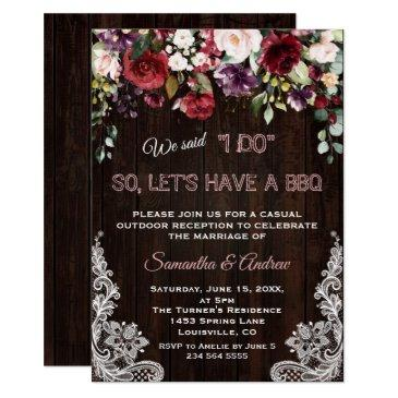 rustic burgundy blush flowers lace i do bbq invitation