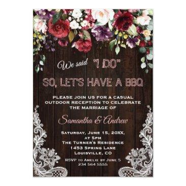 Small Rustic Burgundy Blush Flowers Lace I Do Bbq Invitation Front View