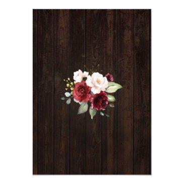 Small Rustic Burgundy Blush Flowers Lace I Do Bbq Invitation Back View