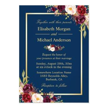 Small Rustic Burgundy Floral Gold Navy Blue Wedding Invitation Front View