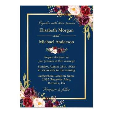 rustic burgundy floral gold navy blue wedding invitations