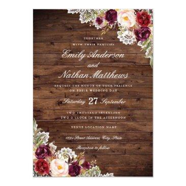 Small Rustic Burgundy Floral Lace Wedding Invitation Front View
