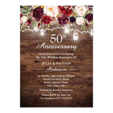 rustic burgundy floral lights 50th anniversary