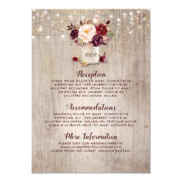 rustic burgundy floral wedding information guest