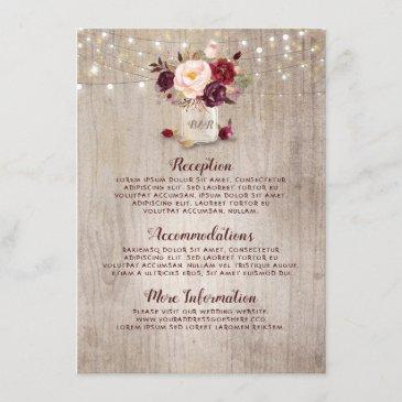 rustic burgundy floral wedding information guest enclosure