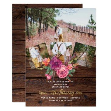 rustic burgundy marsala photo collage wedding invitation