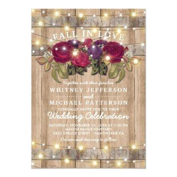 Small Rustic Burgundy Marsala Red Floral Fall Wedding Front View
