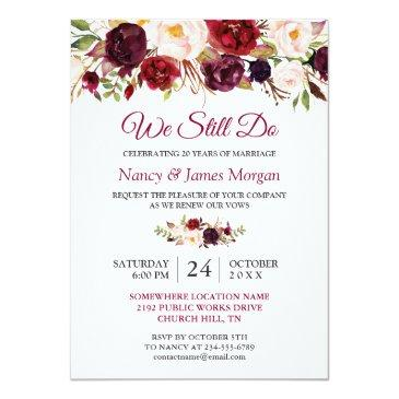 Small Rustic Burgundy Red Floral Wedding Vow Renewal Front View