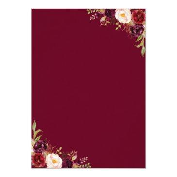 Small Rustic Burgundy Red Floral Wedding Vow Renewal Back View