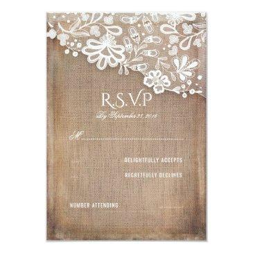 rustic burlap and lace wedding rsvp