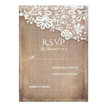 Small Rustic Burlap And Lace Wedding Rsvp Invitationss Front View