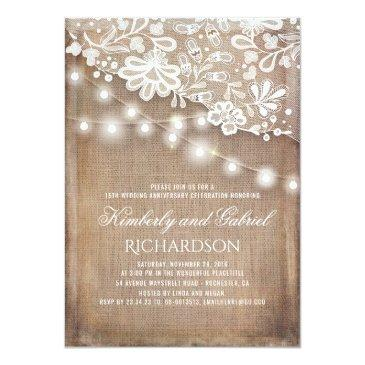 Small Rustic Burlap And Lights Lace Wedding Anniversary Invitationss Front View