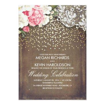 Small Rustic Burlap And Pink Flowers Lace Gold Wedding Invitationss Front View