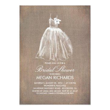 rustic burlap and wedding gown bridal shower