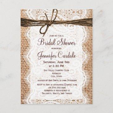 rustic burlap bridal shower invitation postinvitation