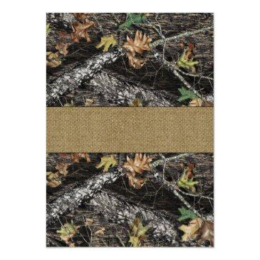 Small Rustic Burlap  Deer Hunting Camo Rsvp Back View