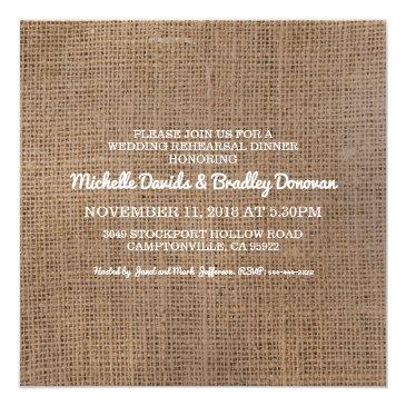 Small Rustic Burlap Eat Drink Married Rehearsal Dinner Invitation Back View